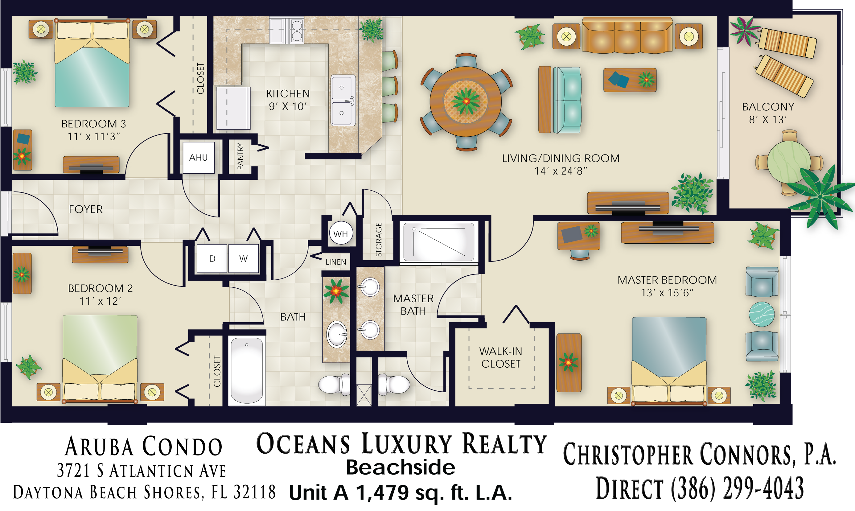 Aruba Condos Floor Plan 3721 S Atlantic Ave 32118