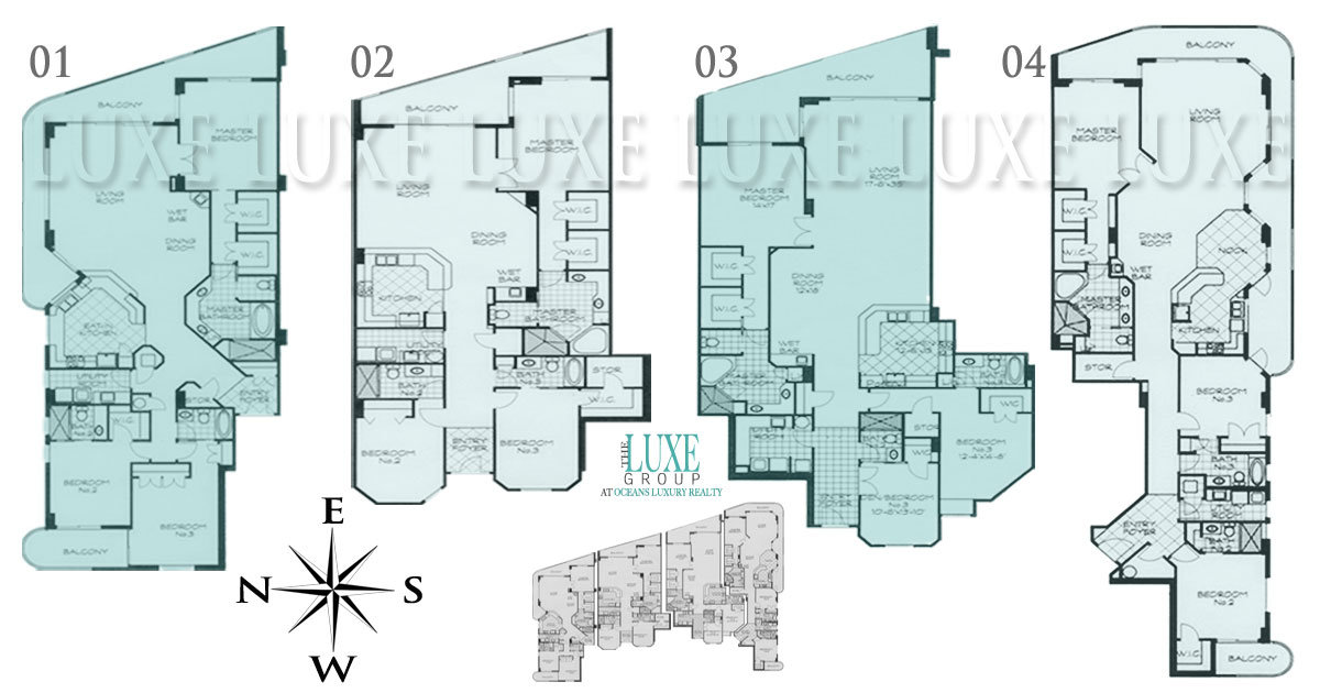 Island Crowne Floor Plans - 1900 N Atlantic Ave Daytona Beach Oceanfront Condos For Sale - The LUXE Group 386-299-4043