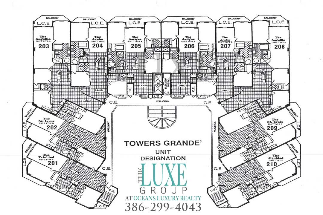 Towers Grande Floor Plan 2055 S Atlantic Ave Daytona Beach Shores | The LUXE Group 386-299-4043
