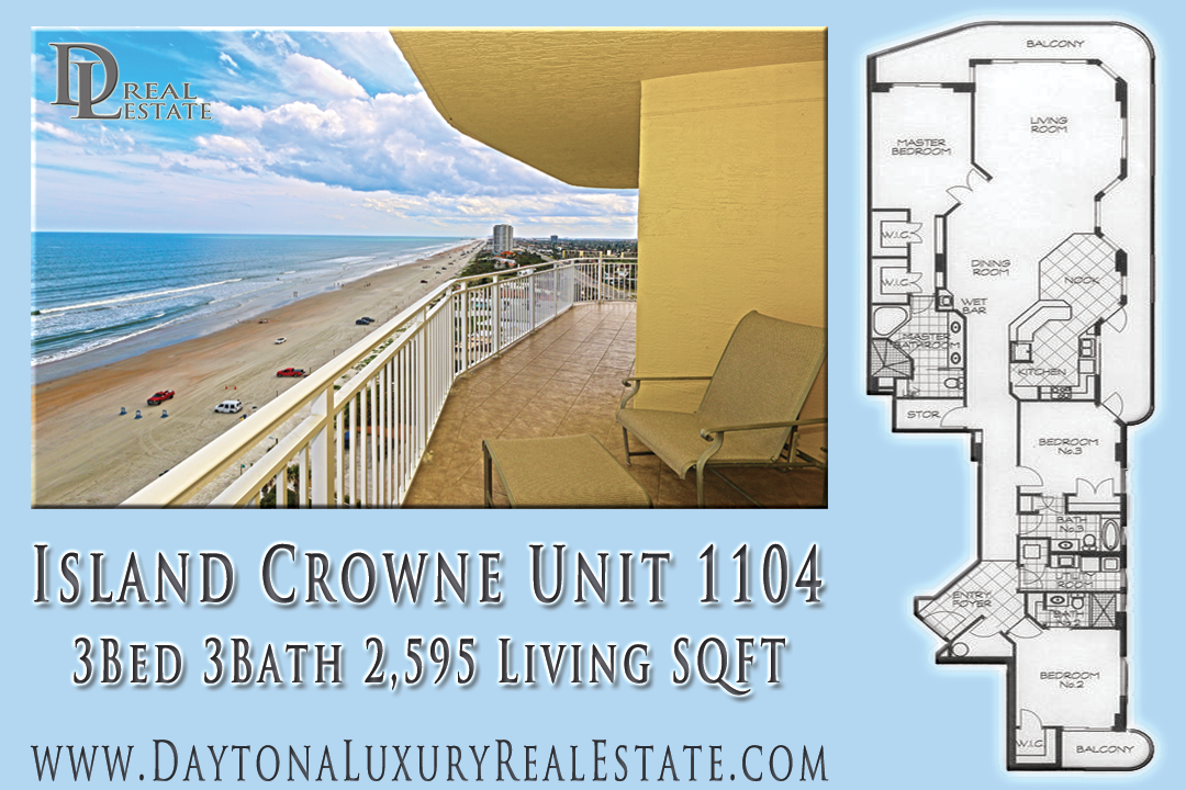 Oceanfront Condo Floor Plan for Island Crowne Condo 1104 in Daytona Beach
