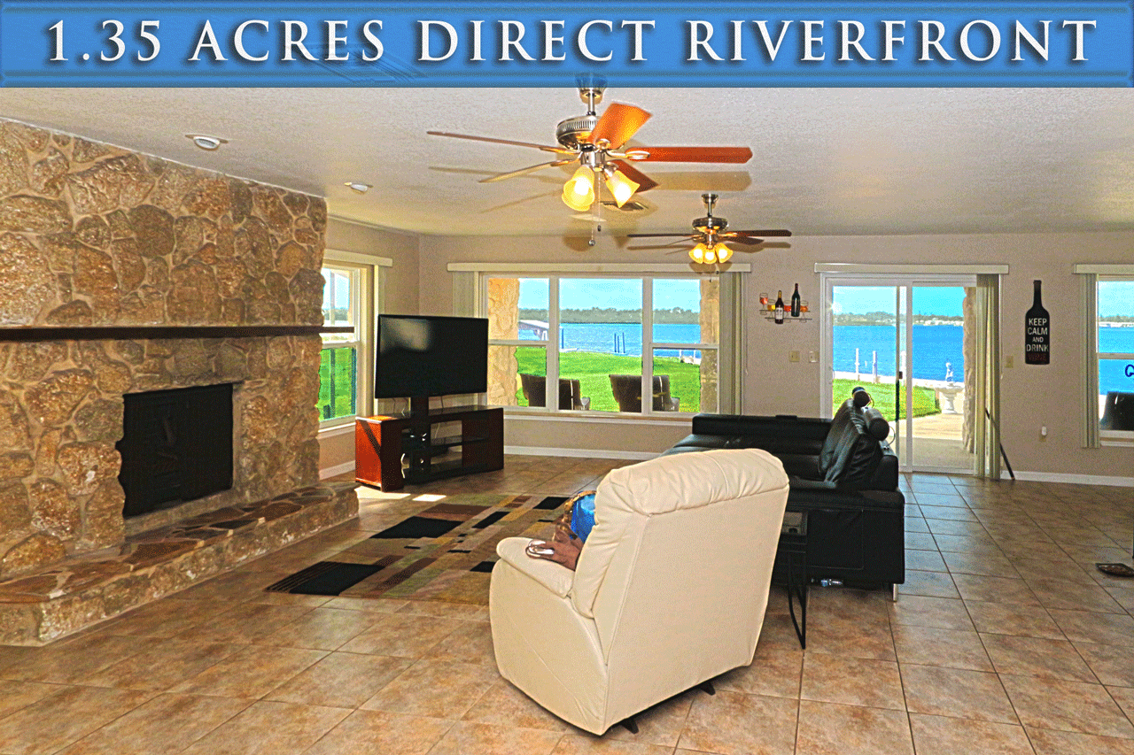 Riverfront homes for sale in Port Orange Florida. 1.35 acres beachside along the Intracoastal Waterway. Zoned Multifamily or Assisted Living Facility - Riverfront home Living Area