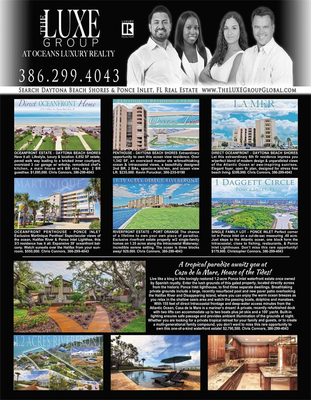 Homes & Land Magazine August 2017 - Daytona Beach Shores & Ponce Inlet Real Estate For Sale The LUXE Group 386.299.4043