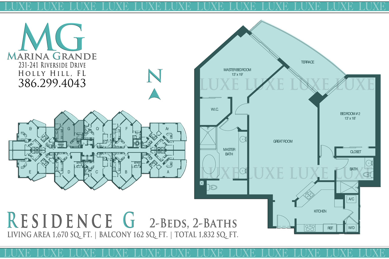 Marina Grande Condo Riverfront Floor Plan G Unit 08 - 231 241 Riverside Drive Holly Hill - The LUXE Group 386.299.4043