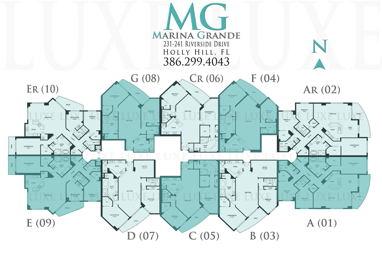 Marina Grande Riverfront Condo Floor Plans 231-241 Riverside Drive in Daytona Beach - The LUXE Group 386.299.4043